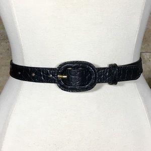 Banana Republic Belt M Leather Black Croc
